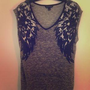 XL grey knit winged shirt w/ faux leather trim